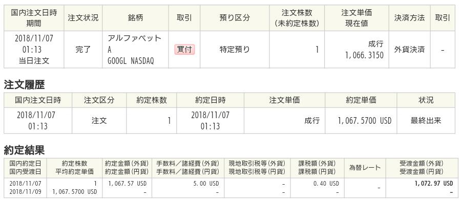 Google株約定2018/11/06