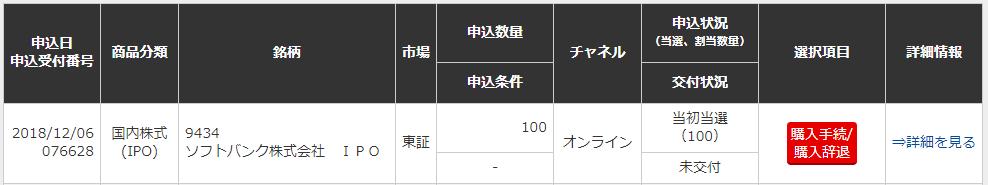 三菱UFJモルガン・スタンレー証券 ソフトバンクIPO当選