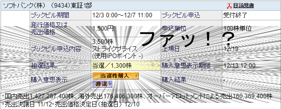 ソフトバンクIPO 当選枚数増加